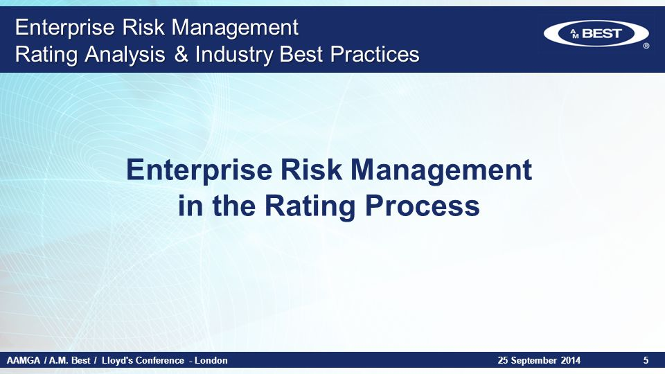 AAMGA / A.M. Best / Lloyd's Conference - London Enterprise Risk Management Rating Analysis & Industry Best Practices Enterprise Risk Management in the