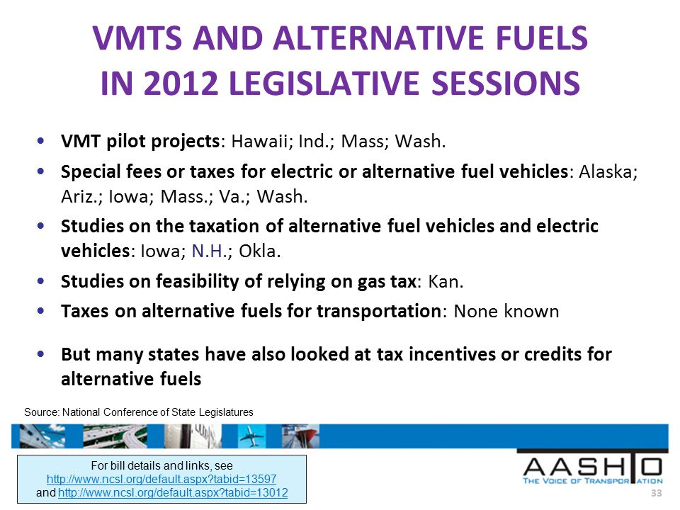 33 VMTS AND ALTERNATIVE FUELS IN 2012 LEGISLATIVE SESSIONS VMT pilot projects: Hawaii; Ind.; Mass; Wash.