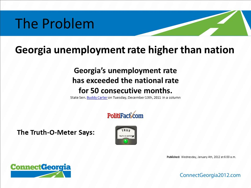 The Problem Georgia unemployment rate higher than nation Georgia's unemployment rate has exceeded the national rate for 50 consecutive months.