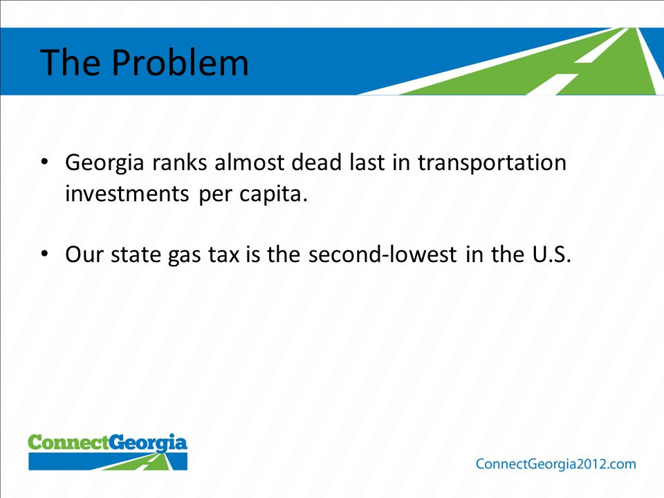 The Problem Georgia ranks almost dead last in transportation investments per capita.
