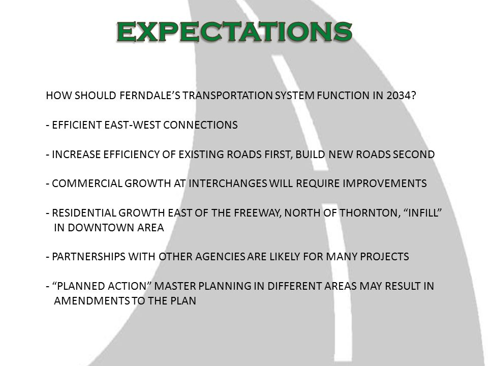HOW SHOULD FERNDALE'S TRANSPORTATION SYSTEM FUNCTION IN 2034.