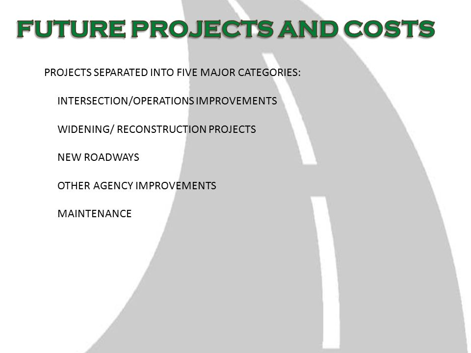 PROJECTS SEPARATED INTO FIVE MAJOR CATEGORIES: INTERSECTION/OPERATIONS IMPROVEMENTS WIDENING/ RECONSTRUCTION PROJECTS NEW ROADWAYS OTHER AGENCY IMPROVEMENTS MAINTENANCE