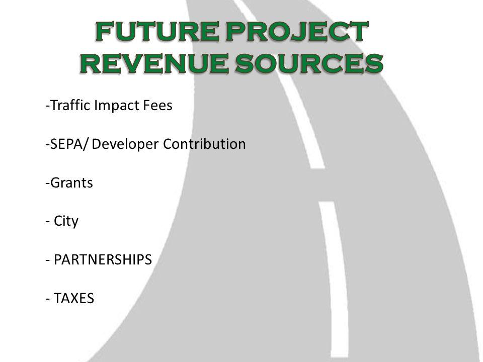 -Traffic Impact Fees -SEPA/ Developer Contribution -Grants - City - PARTNERSHIPS - TAXES