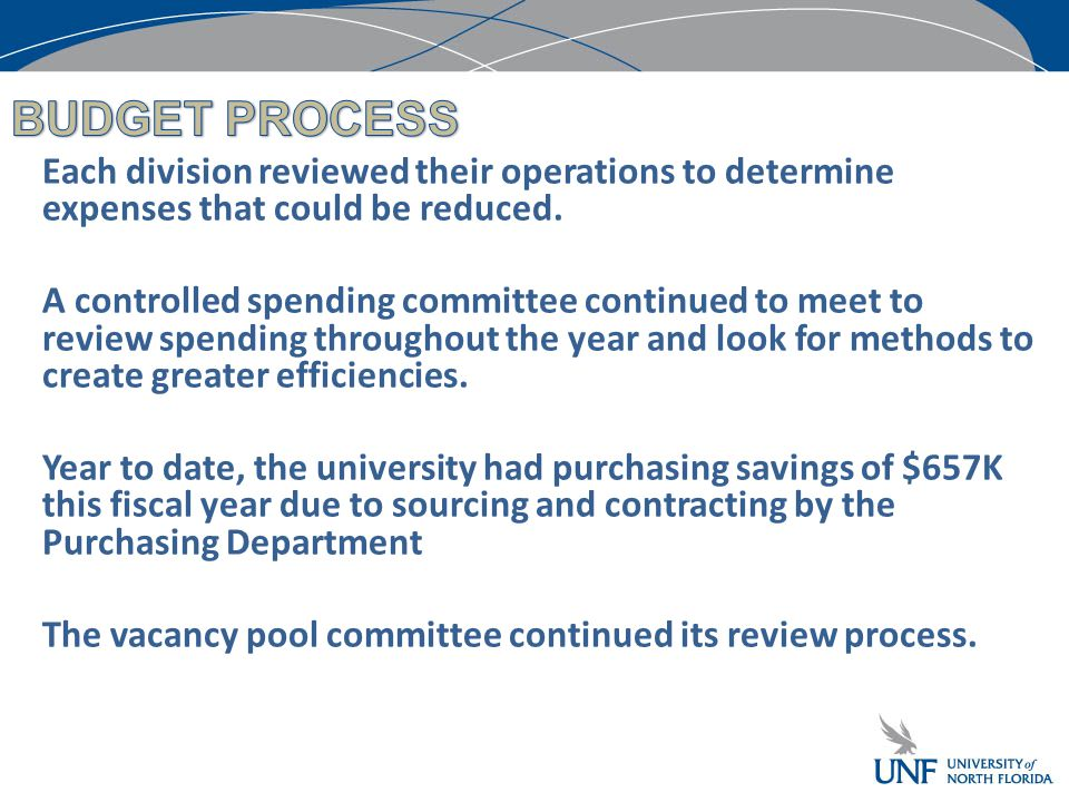 Each division reviewed their operations to determine expenses that could be reduced.