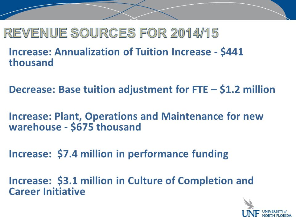 Increase: Annualization of Tuition Increase - $441 thousand Decrease: Base tuition adjustment for FTE – $1.2 million Increase: Plant, Operations and Maintenance for new warehouse - $675 thousand Increase: $7.4 million in performance funding Increase: $3.1 million in Culture of Completion and Career Initiative