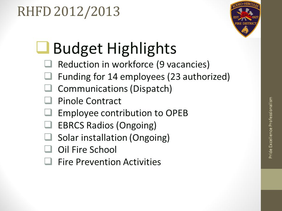 RHFD 2012/2013  Budget Highlights  Reduction in workforce (9 vacancies)  Funding for 14 employees (23 authorized)  Communications (Dispatch)  Pinole Contract  Employee contribution to OPEB  EBRCS Radios (Ongoing)  Solar installation (Ongoing)  Oil Fire School  Fire Prevention Activities Pride Excellence Professionalism