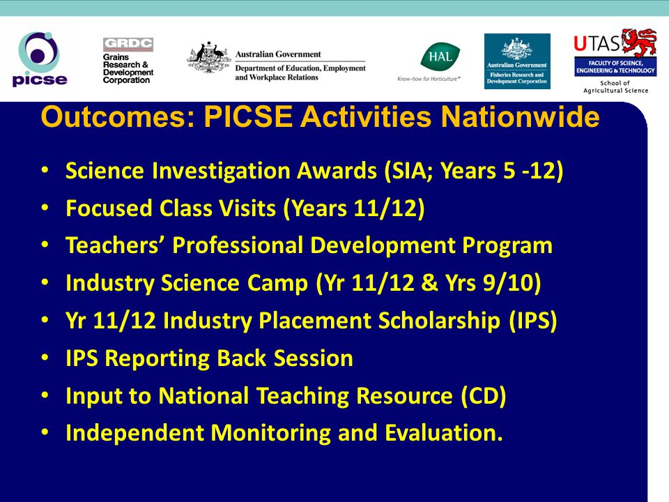 Science Investigation Awards (SIA; Years 5 -12) Focused Class Visits (Years 11/12) Teachers' Professional Development Program Industry Science Camp (Yr 11/12 & Yrs 9/10) Yr 11/12 Industry Placement Scholarship (IPS) IPS Reporting Back Session Input to National Teaching Resource (CD) Independent Monitoring and Evaluation.