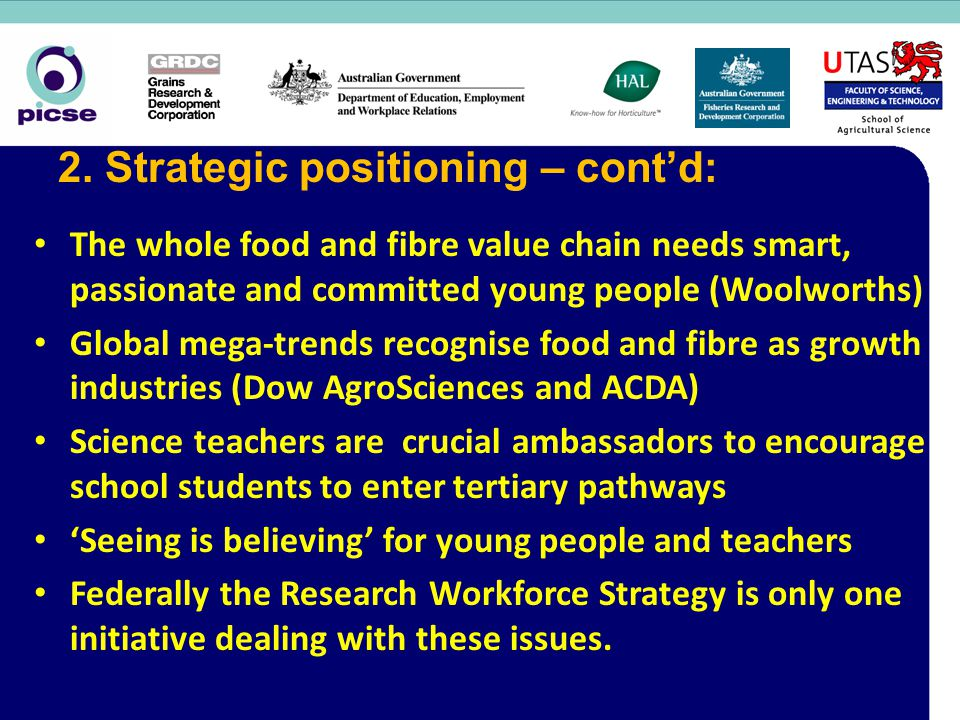 The whole food and fibre value chain needs smart, passionate and committed young people (Woolworths) Global mega-trends recognise food and fibre as growth industries (Dow AgroSciences and ACDA) Science teachers are crucial ambassadors to encourage school students to enter tertiary pathways 'Seeing is believing' for young people and teachers Federally the Research Workforce Strategy is only one initiative dealing with these issues.