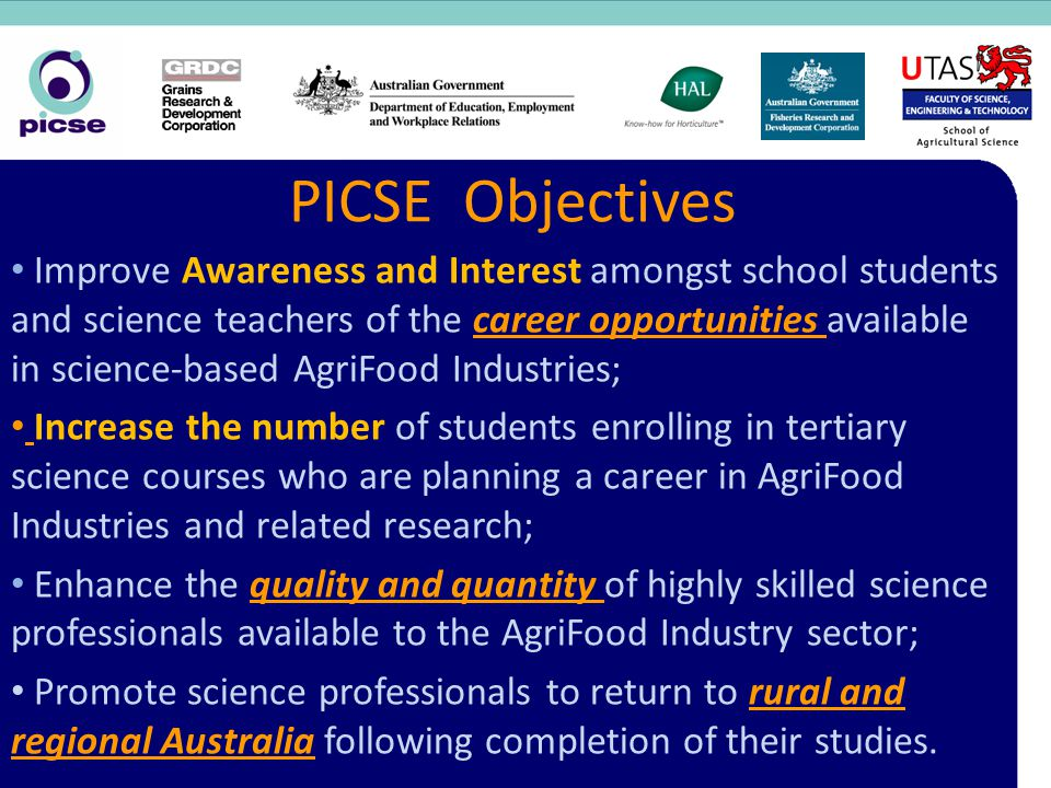 PICSE Objectives Improve Awareness and Interest amongst school students and science teachers of the career opportunities available in science-based Ag