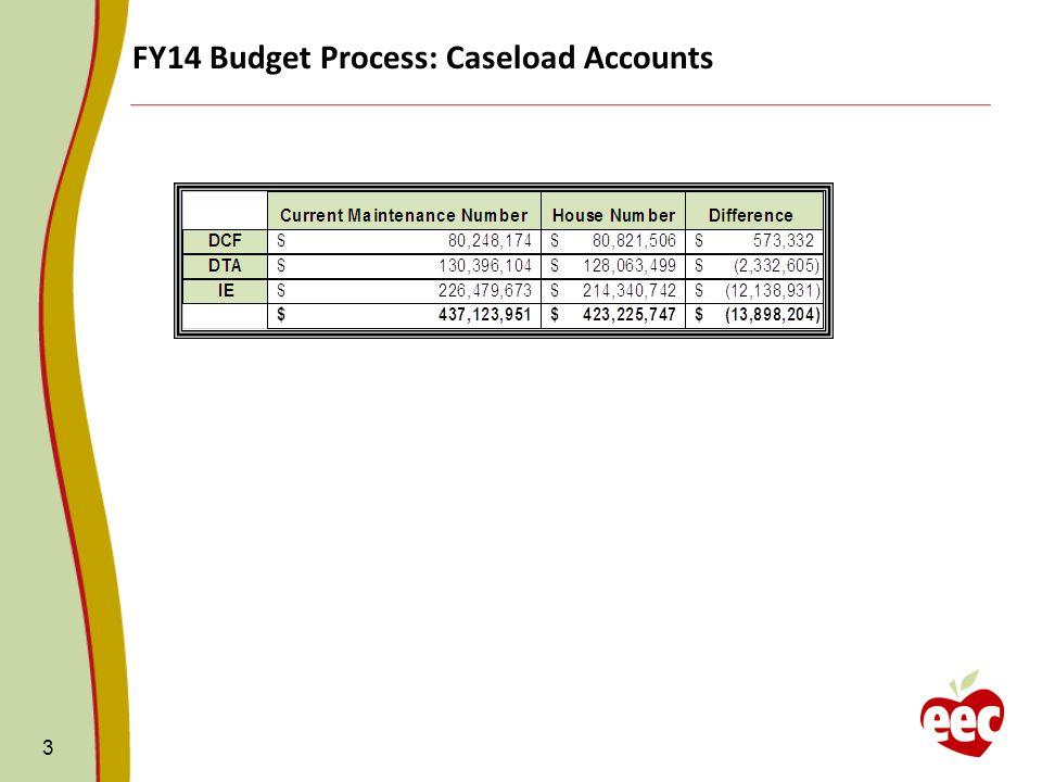 FY14 Budget Process: Caseload Accounts 3