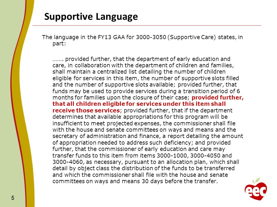 Supportive Language The language in the FY13 GAA for 3000-3050 (Supportive Care) states, in part: …….