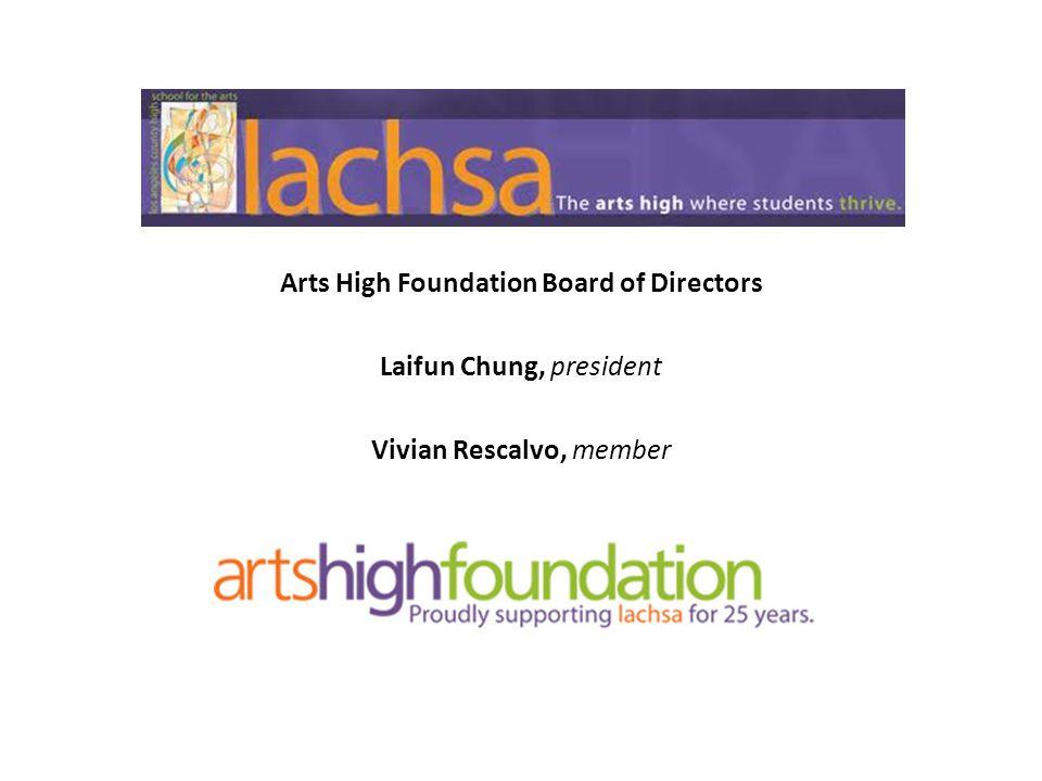 Arts High Foundation Board of Directors Laifun Chung, president Vivian Rescalvo, member