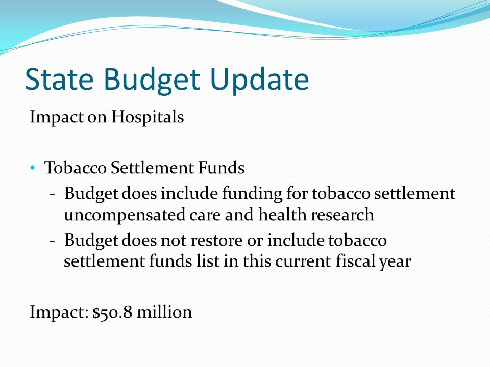 State Budget Update Impact on Hospitals Tobacco Settlement Funds - Budget does include funding for tobacco settlement uncompensated care and health research - Budget does not restore or include tobacco settlement funds list in this current fiscal year Impact: $50.8 million