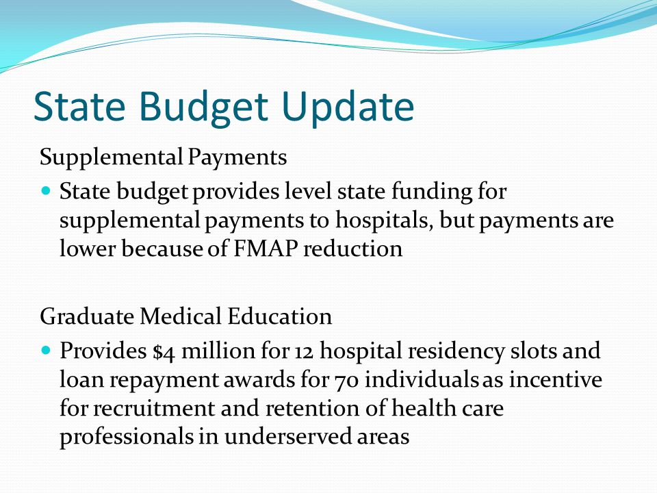 State Budget Update Supplemental Payments State budget provides level state funding for supplemental payments to hospitals, but payments are lower because of FMAP reduction Graduate Medical Education Provides $4 million for 12 hospital residency slots and loan repayment awards for 70 individuals as incentive for recruitment and retention of health care professionals in underserved areas