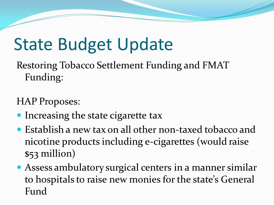 State Budget Update Restoring Tobacco Settlement Funding and FMAT Funding: HAP Proposes: Increasing the state cigarette tax Establish a new tax on all other non-taxed tobacco and nicotine products including e-cigarettes (would raise $53 million) Assess ambulatory surgical centers in a manner similar to hospitals to raise new monies for the state's General Fund