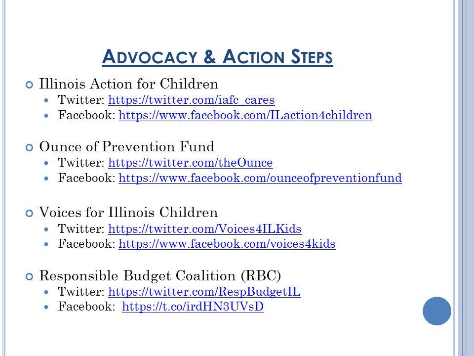 Illinois Action for Children Twitter: https://twitter.com/iafc_careshttps://twitter.com/iafc_cares Facebook: https://www.facebook.com/ILaction4childrenhttps://www.facebook.com/ILaction4children Ounce of Prevention Fund Twitter: https://twitter.com/theOuncehttps://twitter.com/theOunce Facebook: https://www.facebook.com/ounceofpreventionfundhttps://www.facebook.com/ounceofpreventionfund Voices for Illinois Children Twitter: https://twitter.com/Voices4ILKidshttps://twitter.com/Voices4ILKids Facebook: https://www.facebook.com/voices4kidshttps://www.facebook.com/voices4kids Responsible Budget Coalition (RBC) Twitter: https://twitter.com/RespBudgetILhttps://twitter.com/RespBudgetIL Facebook: https://t.co/irdHN3UVsDhttps://t.co/irdHN3UVsD