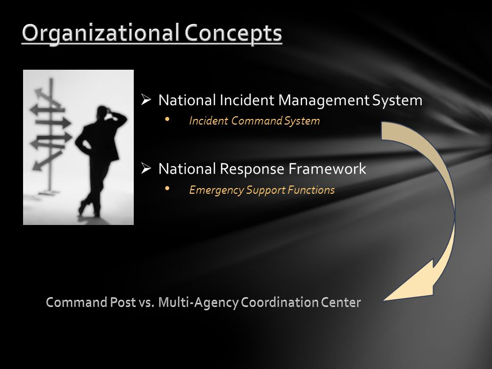  National Incident Management System Incident Command System  National Response Framework Emergency Support Functions