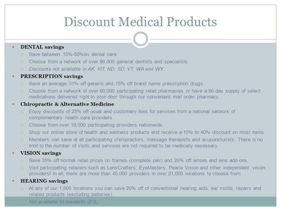Discount Medical Products DENTAL savings  Save between 15%-50%on dental care.