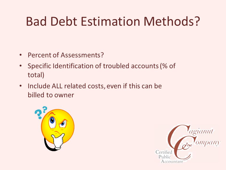 Bad Debt Estimation Methods. Percent of Assessments.