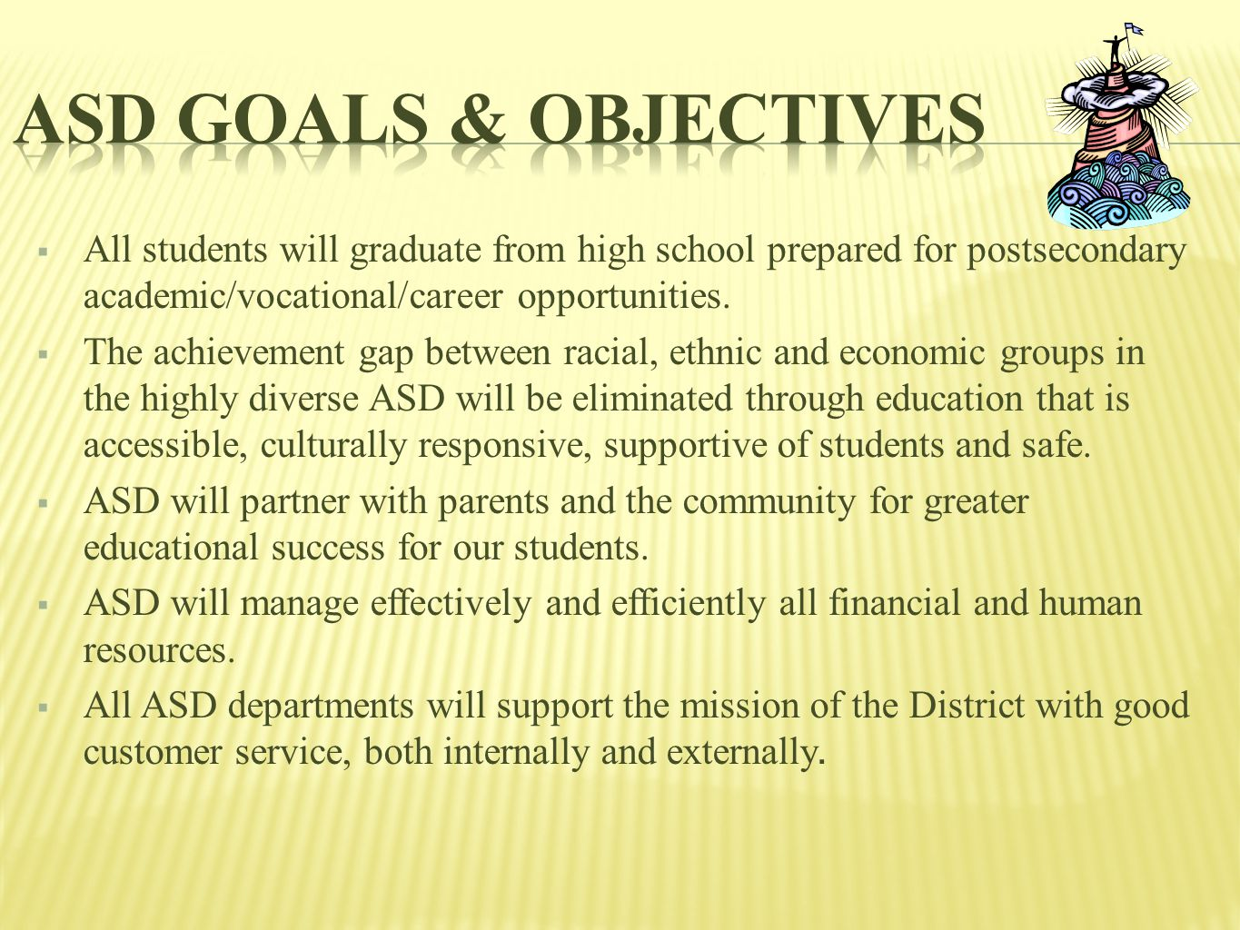  All students will graduate from high school prepared for postsecondary academic/vocational/career opportunities.