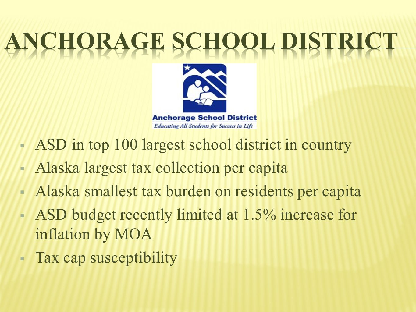  ASD in top 100 largest school district in country  Alaska largest tax collection per capita  Alaska smallest tax burden on residents per capita  ASD budget recently limited at 1.5% increase for inflation by MOA  Tax cap susceptibility