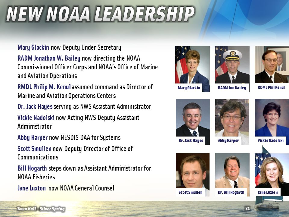 Mary Glackin now Deputy Under Secretary RADM Jonathan W. Bailey now directing the NOAA Commissioned Officer Corps and NOAA's Office of Marine and Avia