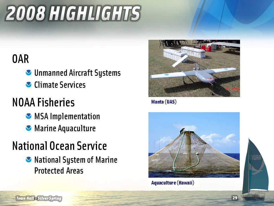 OAR Unmanned Aircraft Systems Climate Services NOAA Fisheries MSA Implementation Marine Aquaculture National Ocean Service National System of Marine Protected Areas Aquaculture (Hawaii) Manta (UAS) 29Town Hall — Silver Spring