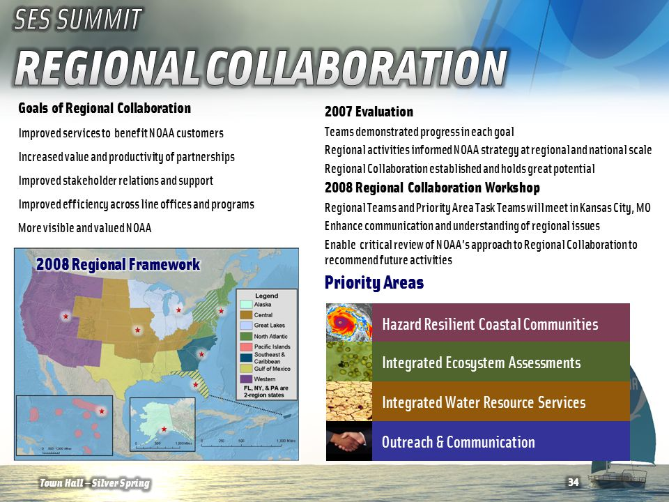 Goals of Regional Collaboration Improved services to benefit NOAA customers Increased value and productivity of partnerships Improved stakeholder relations and support Improved efficiency across line offices and programs More visible and valued NOAA Hazard Resilient Coastal Communities Integrated Ecosystem Assessments Integrated Water Resource Services Outreach & Communication Priority Areas 2007 Evaluation Teams demonstrated progress in each goal Regional activities informed NOAA strategy at regional and national scale Regional Collaboration established and holds great potential 2008 Regional Collaboration Workshop Regional Teams and Priority Area Task Teams will meet in Kansas City, MO Enhance communication and understanding of regional issues Enable critical review of NOAA's approach to Regional Collaboration to recommend future activities Town Hall — Silver Spring34