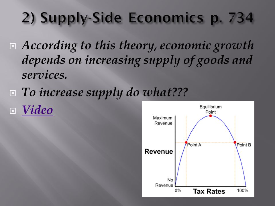  According to this theory, economic growth depends on increasing supply of goods and services.  To increase supply do what???  Video Video