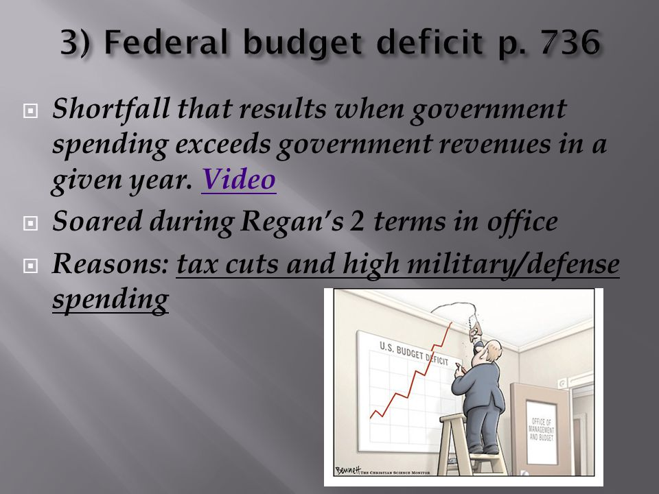 Shortfall that results when government spending exceeds government revenues in a given year. VideoVideo  Soared during Regan's 2 terms in office 