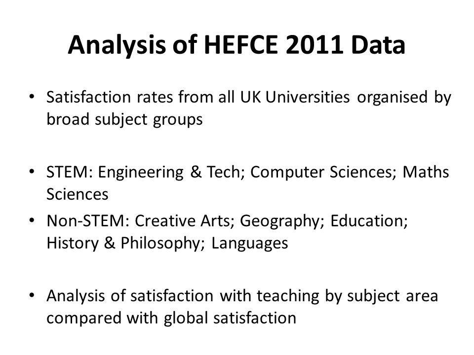 Analysis of HEFCE 2011 Data Satisfaction rates from all UK Universities organised by broad subject groups STEM: Engineering & Tech; Computer Sciences; Maths Sciences Non-STEM: Creative Arts; Geography; Education; History & Philosophy; Languages Analysis of satisfaction with teaching by subject area compared with global satisfaction