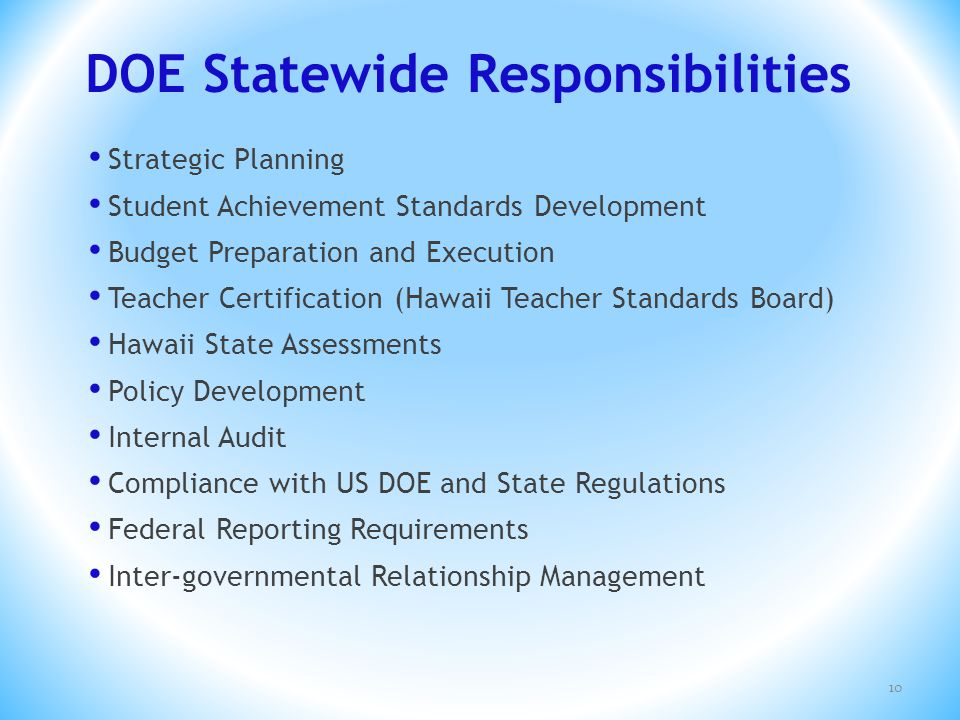 DOE Statewide Responsibilities Strategic Planning Student Achievement Standards Development Budget Preparation and Execution Teacher Certification (Ha