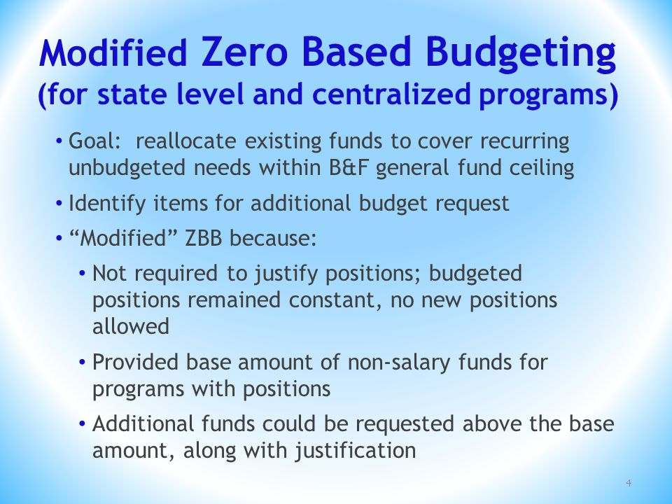 Modified Zero Based Budgeting (for state level and centralized programs) Goal: reallocate existing funds to cover recurring unbudgeted needs within B&