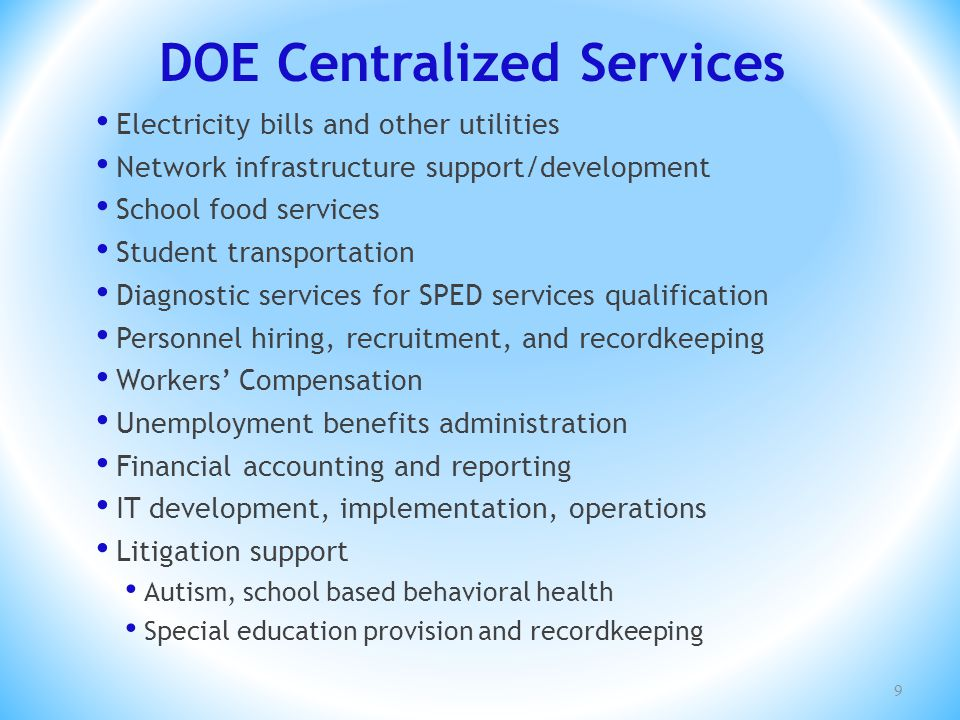 DOE Centralized Services Electricity bills and other utilities Network infrastructure support/development School food services Student transportation