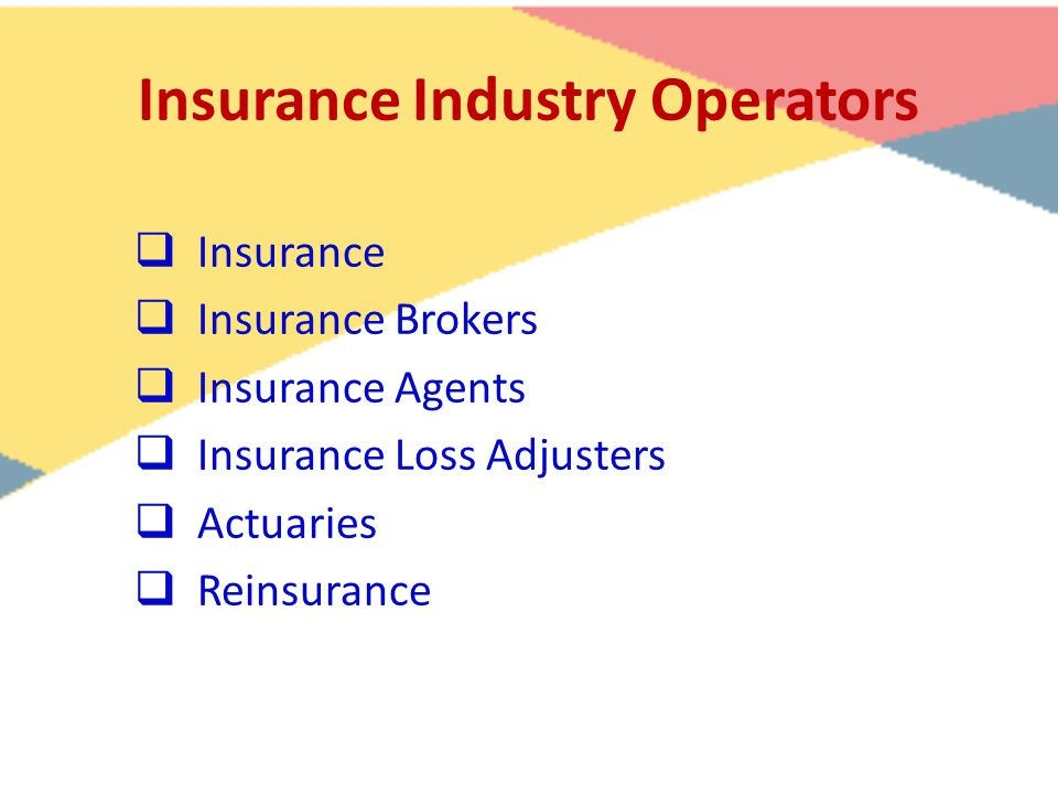 Insurance Industry Operators  Insurance  Insurance Brokers  Insurance Agents  Insurance Loss Adjusters  Actuaries  Reinsurance