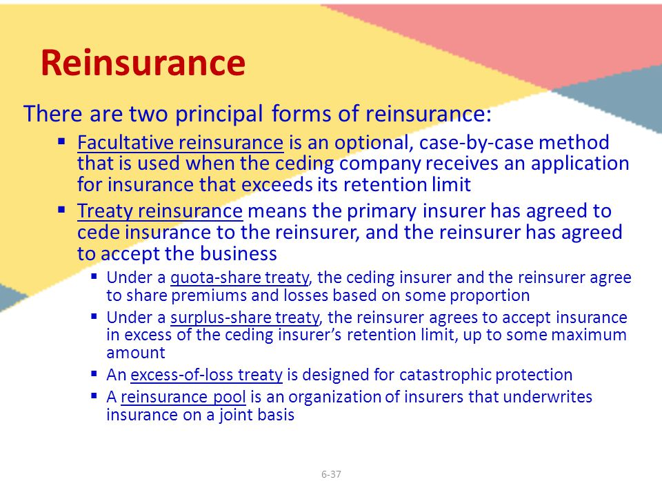 6-37 Reinsurance There are two principal forms of reinsurance:  Facultative reinsurance is an optional, case-by-case method that is used when the ceding company receives an application for insurance that exceeds its retention limit  Treaty reinsurance means the primary insurer has agreed to cede insurance to the reinsurer, and the reinsurer has agreed to accept the business  Under a quota-share treaty, the ceding insurer and the reinsurer agree to share premiums and losses based on some proportion  Under a surplus-share treaty, the reinsurer agrees to accept insurance in excess of the ceding insurer's retention limit, up to some maximum amount  An excess-of-loss treaty is designed for catastrophic protection  A reinsurance pool is an organization of insurers that underwrites insurance on a joint basis