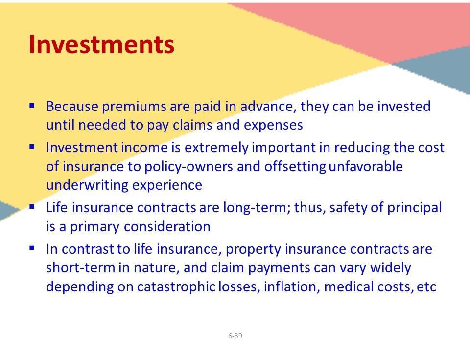 6-39 Investments  Because premiums are paid in advance, they can be invested until needed to pay claims and expenses  Investment income is extremely