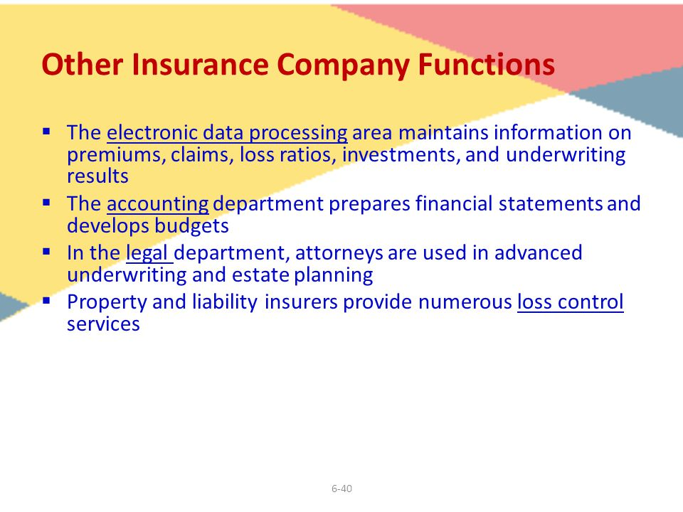 6-40 Other Insurance Company Functions  The electronic data processing area maintains information on premiums, claims, loss ratios, investments, and