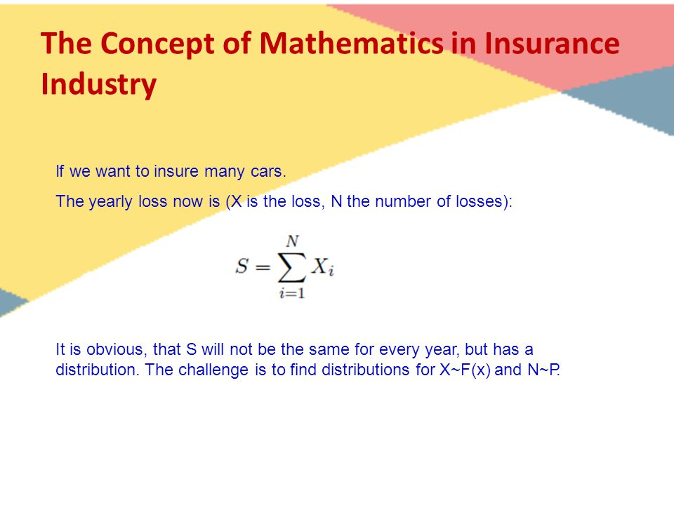 The Concept of Mathematics in Insurance Industry If we want to insure many cars.