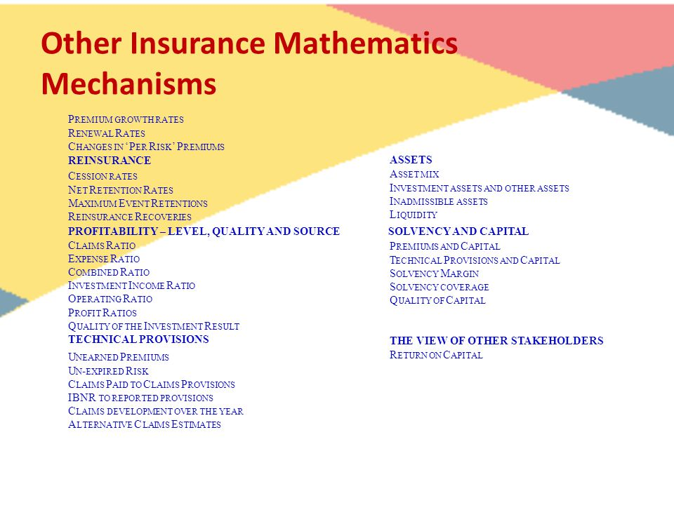 Other Insurance Mathematics Mechanisms P REMIUM GROWTH RATES R ENEWAL R ATES C HANGES IN 'P ER R ISK ' P REMIUMS REINSURANCE C ESSION RATES N ET R ETE