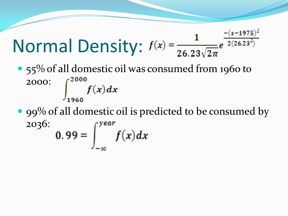 Normal Density: 55% of all domestic oil was consumed from 1960 to 2000: 99% of all domestic oil is predicted to be consumed by 2036: