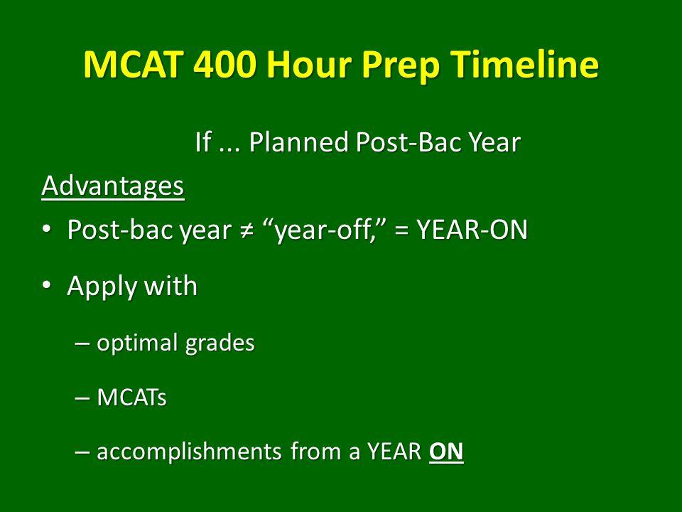 MCAT 400 Hour Prep Timeline If...