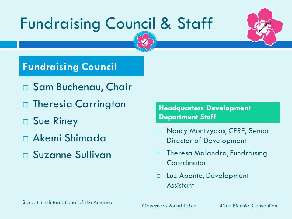 Governor's Round Table Fundraising Council & Staff  Sam Buchenau, Chair  Theresia Carrington  Sue Riney  Akemi Shimada  Suzanne Sullivan  Nancy