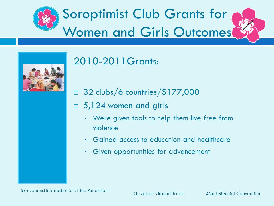 Governor's Round Table Soroptimist Club Grants for Women and Girls Outcomes 42nd Biennial Convention Soroptimist International of the Americas 2010-20