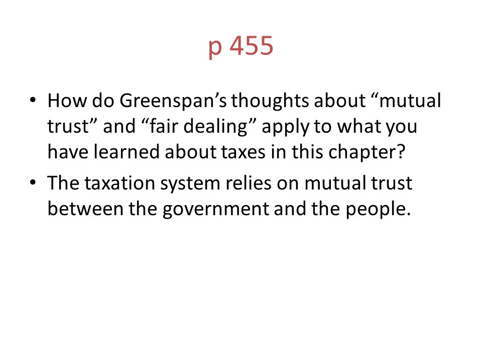 p 455 How do Greenspan's thoughts about mutual trust and fair dealing apply to what you have learned about taxes in this chapter.