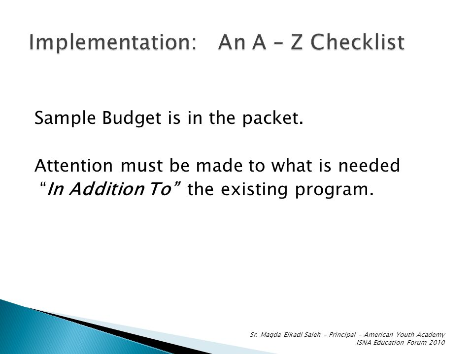 Sample Budget is in the packet.