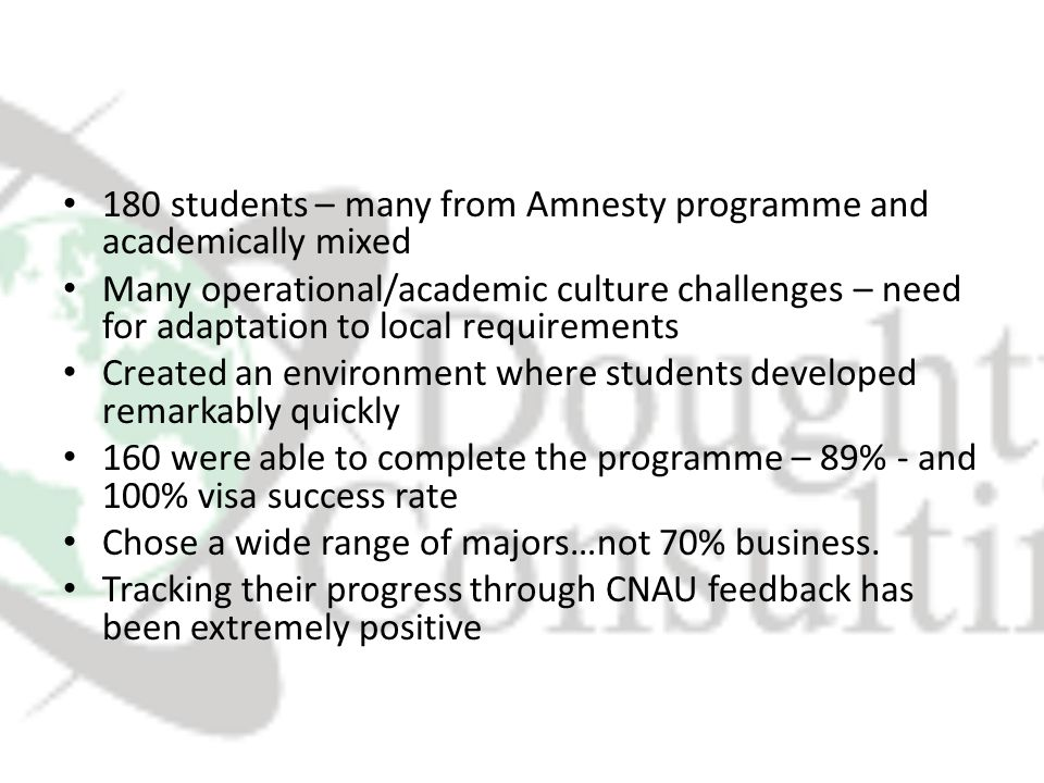 180 students – many from Amnesty programme and academically mixed Many operational/academic culture challenges – need for adaptation to local requirements Created an environment where students developed remarkably quickly 160 were able to complete the programme – 89% - and 100% visa success rate Chose a wide range of majors…not 70% business.