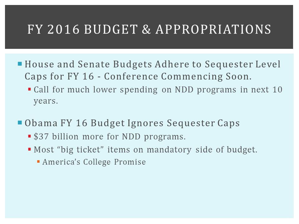  House and Senate Budgets Adhere to Sequester Level Caps for FY 16 - Conference Commencing Soon.