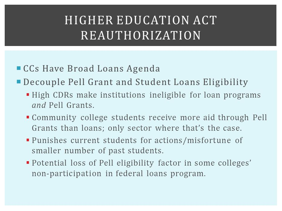  CCs Have Broad Loans Agenda  Decouple Pell Grant and Student Loans Eligibility  High CDRs make institutions ineligible for loan programs and Pell Grants.
