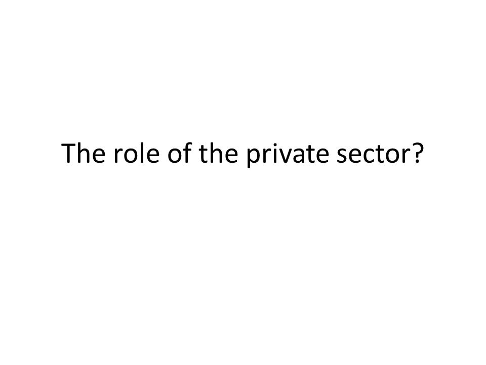 The role of the private sector?